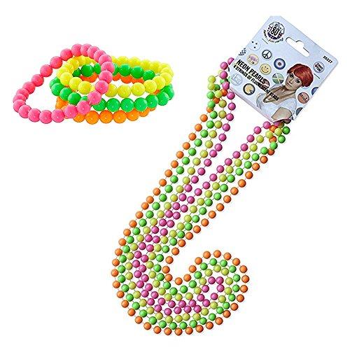 InnoBase 80er Party Kleid Zubehör Kunststoff Neon Mehrfarbig Perlenkette Perlen Halsketten Fluoreszierende Perlen und Neon Perlen-Armbänder 1980 Abendkleid Set, One Size