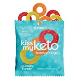 Kiss My Keto Sweet Tropical Rings — Low Sugar (1g), 70 Calories, Keto Candy Gummies with MCT Oil | Vegan Friendly, Non-GMO, Gluten Free Low Carb Candy | 2g Net Carbs — 6 Individually Wrapped Packs