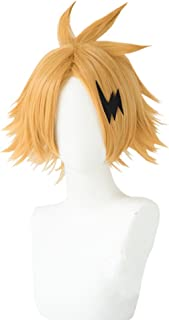 Heat Resistant Synthetic Halloween Short Layered Cosplay Wig Gold Free Wig cap
