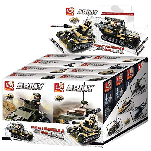 SLUBAN M38-B0587 ARMY 8 INTO 1. 8 SEPARATE SETS IN A DISPLAY BOX. ALL 8 COMBINED WILL MAKE TANK OR APC
