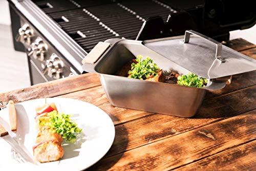 Willys-vakmarkt Warmhoudbox voor stoom- en warmhouddoos van roestvrij staal met deksel en afneembare handgrepen van FSC® beukenhout - warmhoudbox voor eten - ook ideaal voor de horeca
