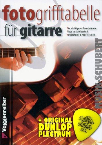 FOTO griptabel voor gitaar incl. plectrum - de eenvoudigste en belangrijkste gitaaraccoorden in grafiek en foto - ideaal voor beginners (zakboek DIN A5) van Jeromy Bessler en Norbert Opgenoorth (noten/sheetmusic)