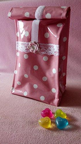Lunchbag*Frühstückstasche*Brotbeutel* Design: Rosa/Weiss Dots besch. BW + 4 kl. Kühlakkus Neu