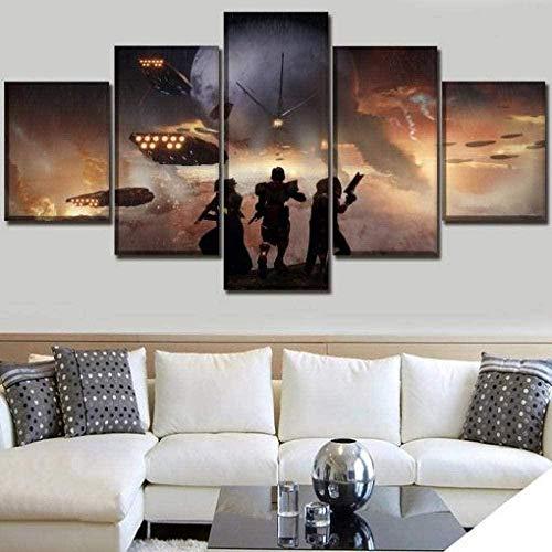 5 piezas cuadro en lienzo Cuadro compuesto por 5 lienzos impresos en HD, utilizados para decoración del hogar y carteles Destiny 2 (150x80cm sin marco)