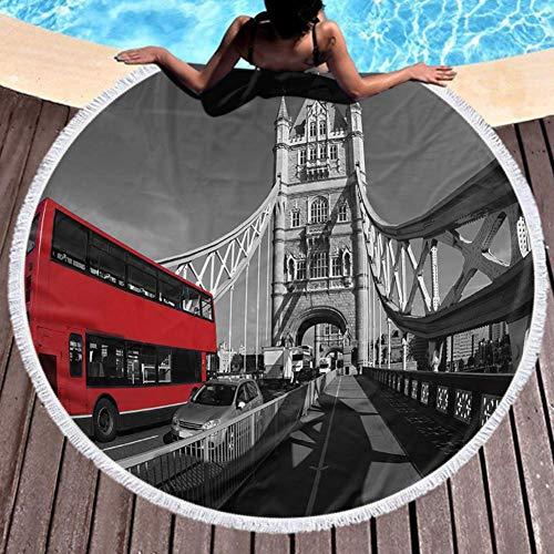 Toalla de playa de secado rápido Famoso Tower Bridge con autobús rojo en Londres, Inglaterra Muy absorbente 59inch