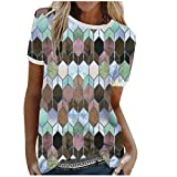 LAIYIFA Verano Señoras Camisetas Gema Costura O-Cuello Jersey de Manga Corta Mujeres Tops Sueltos Sudaderas De Gran Tamaño, azul, XXL