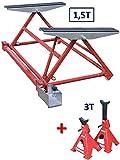 EQUIPEMENT EXPRESS SICOBA Pont, Mini Pont Mobile Basculant pour Levage Auto 1500 kg 1,5T+ 1 Paire de chandelles 3T