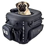 Goldfire Pet Carrier Portable Weather Resistant Motorcycle Dog/Cat Carrier Crate for Luggage Rack or Passenger Seat with Sissy Bar Straps (Black)