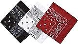 Pack 3 Pañuelos Bandanas Paisley de Algodón 55x55cm para Cuello o Cabeza Múltiuso Unisex (negro+blanco+bordo, Talla única)