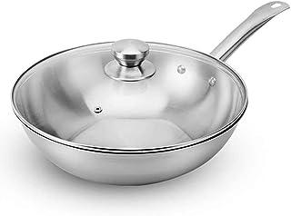 XXDTG Chef en acier inoxydable Fry Wok Cuisinière à gaz Traditionnelle Pot à la main Pot Non Revêtement Woks