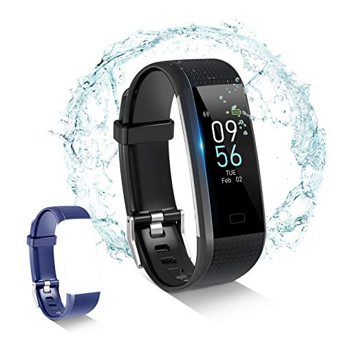 Toplus Fitness Tracker, with Connected GPS, Heart Rate Monitor IP68 Waterproof Tracker Pedometer, Blood Oxygen, Pressure, Body Temperature, Sleep Monitor,16 Sport Modes, Plus 1 Extra Band