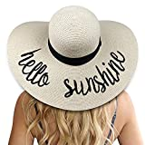 DRESHOW Mujeres Big Bowknot Sombrero de paja Floppy Plegable enrollable Gorra de playa Sombrero para el sol UPF 50+ (Beige: Hola sol)
