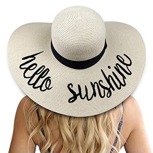 DRESHOW Damen Big Bowknot Strohhut Floppy Faltbare Strandmütze Sonnenhut UPF 50+ (Beige: Hallo Sonnenschein)
