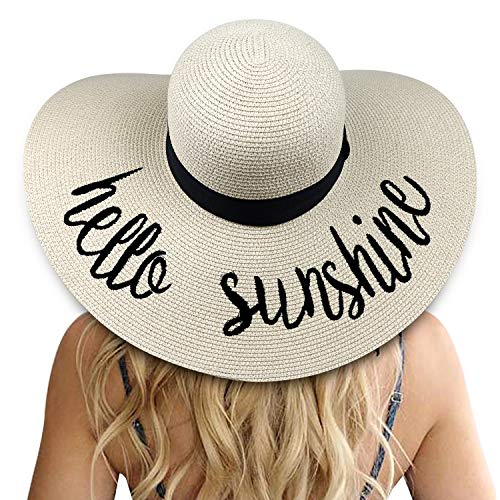 DRESHOW Mujeres Big Bowknot Sombrero de paja Floppy Plegable enrollabl
