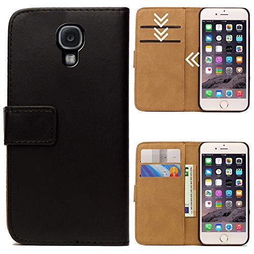 Roar Handytasche für Samsung Galaxy S4 Mini, Flipcase Tasche Schutzhülle Handyhülle für Samsung Galaxy S4 Mini Bookcase Wallet mit Magnet, Schwarz