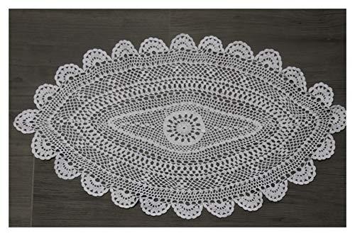 Mantel de ganchillo hecho a mano, 100% algodón, 20 x 30 cm, ovalado, color blanco