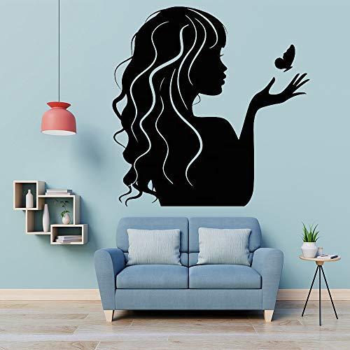 fancjj Salón de Belleza Etiqueta de la Pared Chica Mariposa Peluquería Peluquería Tienda Cartel Ventana Decoración de Arte Vinilo Calcomanía Extraíble Mura