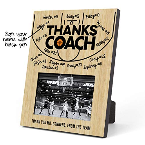 ChalkTalkSPORTS Personalized Basketball Photo Frame | Coach (Autograph) Picture Frame | Court