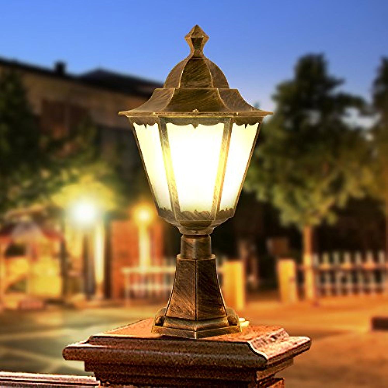 Europische Villa Tür Spalte Licht Garten Terrasse Spalte Scheinwerfer im Freien Spalte Lampe wasserdicht Tischlampe Sule Licht (Farbe   Brass)