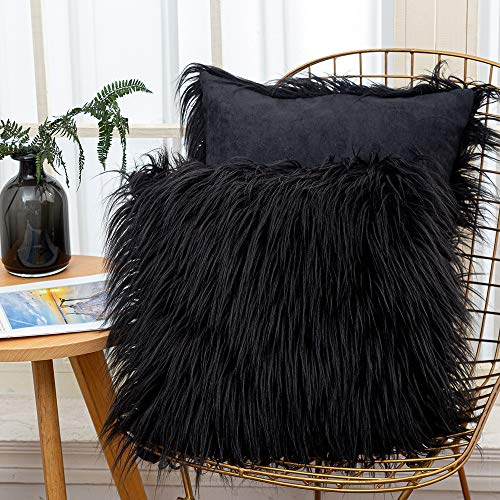 Fluffy Cushion Covers Faux Fur Throw Pillowcase, Square Pillow Plush Covers Shaggy Soft Home Decor for Living Room Sofa Bedroom 45x45 cm Black 2 Pack