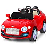 Costzon Ride On Car, 6V Battery Powered Vehicle, Manual/ 2.4G Parental Remote Control Modes Car w/ Flashing Wheel Lights, Swing Function, 3 Speeds, MP3, Music, Radio, Horn for Kids (Red)