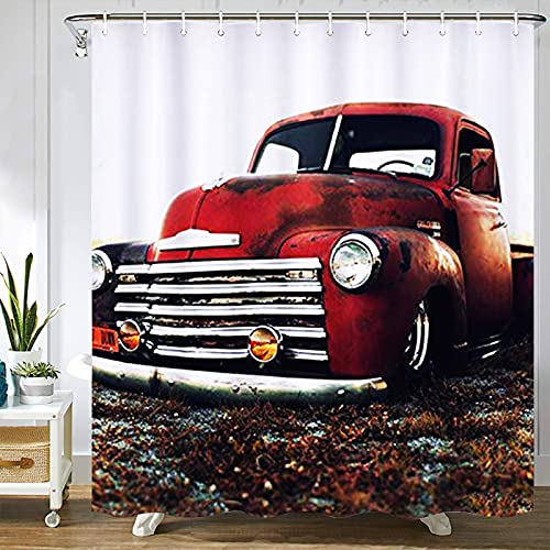 Abaysto Chevy Truck Retro Vintage Rustikal Rot LKW Autos Home Decor Duschvorhang Sets mit Haken Polyester Stoff Tolles Geschenk