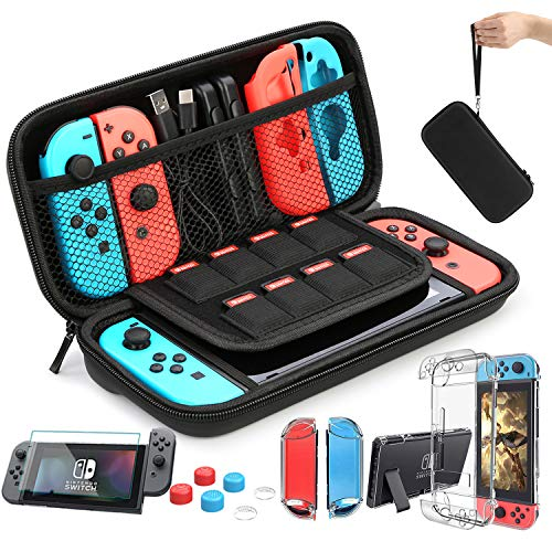 HEYSTOP Case Compatible with Nintendo Switch Carry Case 9 in 1 Pouch Switch Cover Case HD Switch Screen Protector Thumb Grips Caps for Nintendo Switch Console Accessories