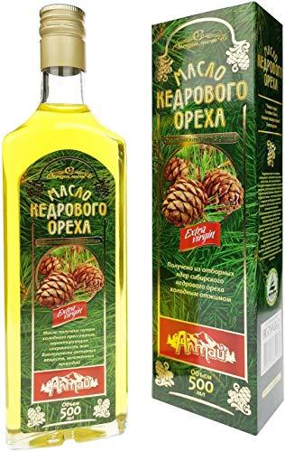Aceite de nuez de cedro de cedro siberiano | prensado en frío extra Virgin | Incluye vertedor de botella Sinland de alta calidad | 500 ml