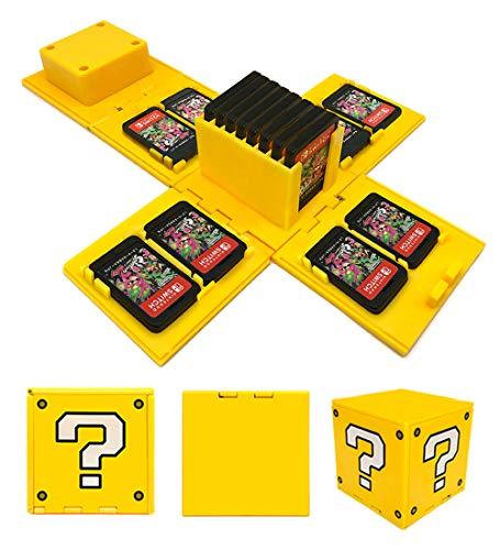 VANDA Etui kompatibel Für Nintendo Switch - Passend für bis zu 16Nintendo Switch Spiele Aufbewahrungssystem Spielkarten Organizer Reisebox Hartschalen Set mit16 Slots Inserts (Fragenblock Gelb)