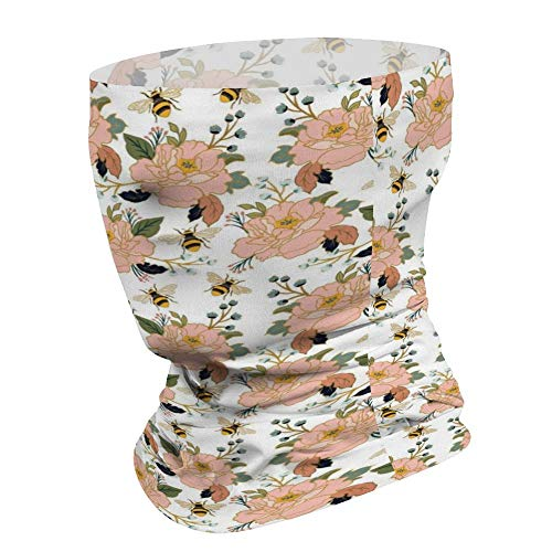 Yilooom Coral Flower & Honey Bee, Seamless Face Mask Bandanas, Unisex Face Scarf for Outdoor Dust Wind Sun Protection