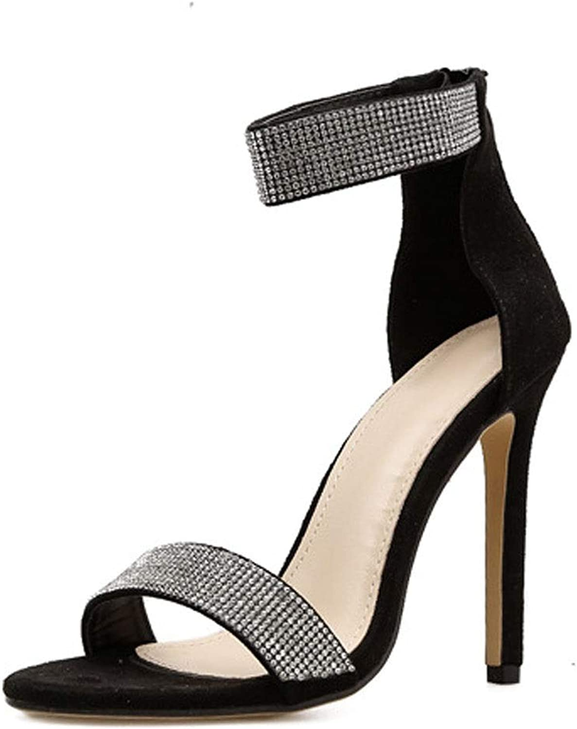 Kirabon Women's High Heel Sandals Fish Mouth Shiny Rhinestone Stiletto Heels (color   Black, Size   38)