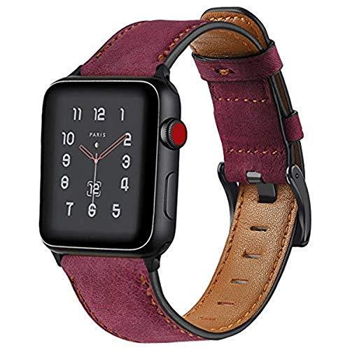 Correa de cuero vintage compatible con Apple Watch Band 38 mm, 40 mm, 42 mm, 44 mm, correa de repuesto de cuero para Apple Watch Series 6, 5, 4, 3, 2, 1, SE