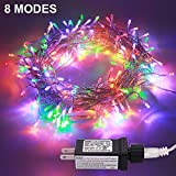 JMEXSUSS 100LED 49.2ft Indoor Outdoor String Christmas Lights 30V 8 Modes Fairy String for Homes, Christmas Tree, Wedding Party, Bedroom, Indoor Wall Decoration, UL588 Approved (100LED, Multicolor)