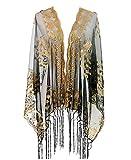 L'VOW Mujeres brillante Años 20 Gatsby Bufanda Mantón de Boda de lentejuela Malla Chal Estola de noche Con flecos (Oro y Negro)