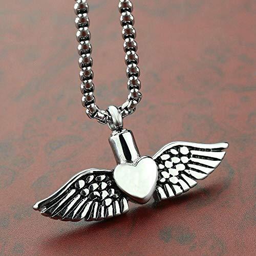 ZXZMONG Acero inoxidable ángel corazón alas cremción urna colgante collar humano mascota gris cremación urna joyería regalo para él relleno ki