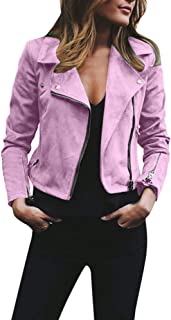 Funnygals - Women's Faux Leather Jackets, Zip Up Lapel Collar Motorcycle Short PU Moto Biker Outwear Fitted Slim Coat