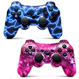 Bowei PS3 Controller Wireless 2 Pack Double Shock Gamepad for Playstation 3 Remotes, Six-Axis Wireless PS3 Controller with Charging Cable, Blue+ Purple