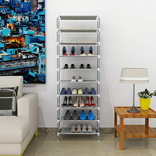 Mauccau 10 Tier Shoe Rack Shoe Tower 30 Pairs Adjustable Large Non Woven Fabric Tall Shoe Shelf Organizer Cabinet