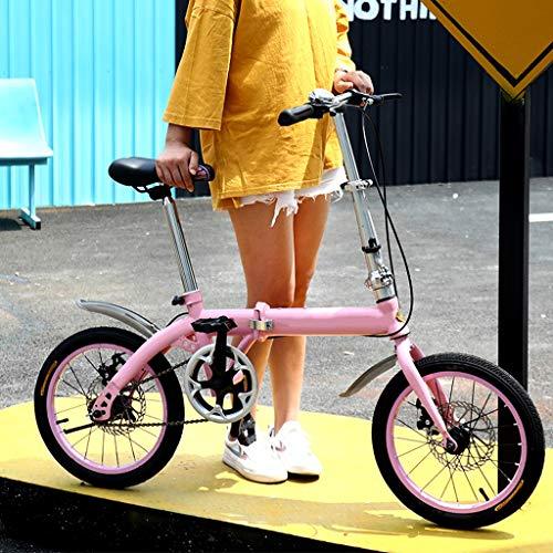 OFFA Bicicletta Bici Bike Pieghevole for Adulti Uomini E Le Donne 16 Pollici Ruote Single Speed Leggero, Cruiser Bicicletta Studenti Ragazze Bambine Urbano Commuter Signore, Carry Posteriore Rack