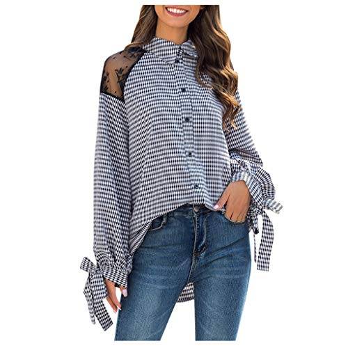 Dasongff Dames recht gesneden blouse hemd revers geruit vrijetijdshemd button down shirt lange mouwen top met decoratieve strik slim fit X-Large zwart