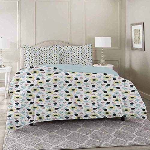 YUAZHOQI Summer Bedding Duvet Cover 3 Piece Set Queen, Hand Drawn Style Pattern with Women`s Beach Hats Pines Watermelons and Star Comforter Cover with Zipper Closure and 2 Pillow Sham