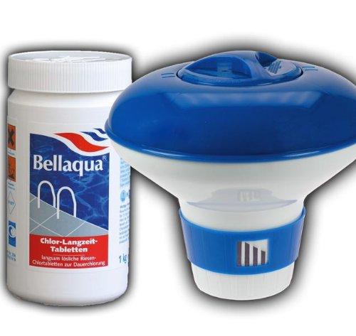 Elecsa 913 Bellaqua Tablettes de chlore longue durée pour piscine avec doseur 200 g Poids total 1 kg