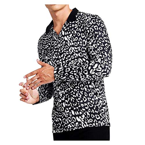 Mens Shirts Long Sleeve Casual Button Down Fashion Leopard Print Muscle Tee Tops Blouse Pullover Jumper Sweatshirts