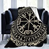 Viking Celtic Black Magic Runic Compass Vegvisir In Nordic Runes Circle And Dragons Tattoo 60x50 Inch Warm Throw Blanket Ultra Soft Flannel Fleece All Season Light Weight Living Room Bedroom for Child