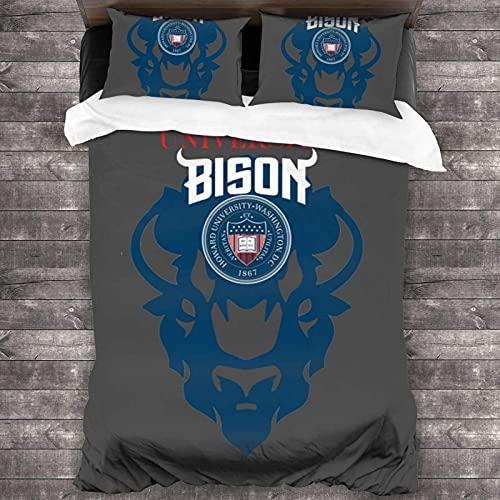 Howard University Bison - Juego de cama de 3 piezas, 218,4 cm x 70, juego de edredón suave de tamaño individual, con 1 funda de edredón y 2 fundas de almohada para adolescentes y niñas