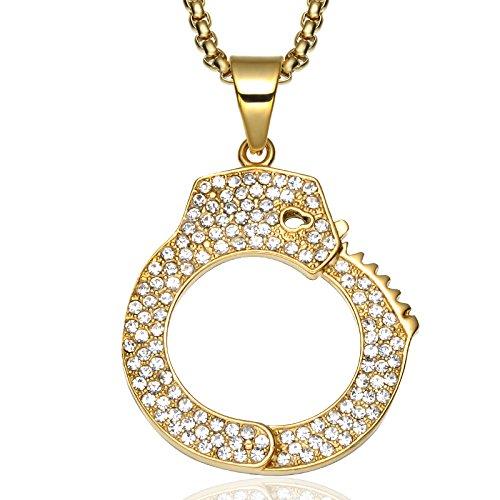 TUDUDU Ice Out Handschellen Anhänger Halsketten 60Cm Gold Farbe Edelstahl Kette Manacle Halskette Für Männer Schmuck