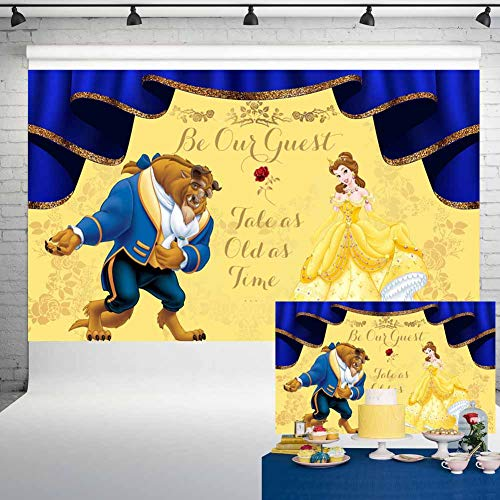 Beauty and The Beast Backdrop Birthday for Girl Princess Belle Party Supplies Banner Background Photography 5x3ft 37