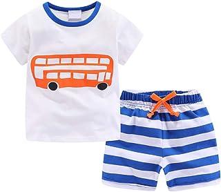 LJYH Toddler Boys Tee Shorts Set Cotton T-Shirt Summer Clothes
