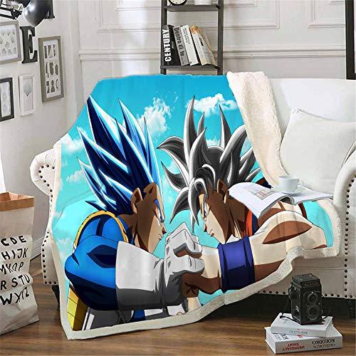 NICHIYO Dragon Ball - Manta de forro polar extra suave y cálida, para sofá o sofá, manta mullida, para adultos y niños, 100% microfibra para sofá y manta de lana con dibujos animados (02,150 x 200 cm)