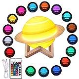 Justech Lámpara de Saturno de PLA en 3D con 3 Modos de Control 20cm Lámpara Luna Recargable USB de 16 Colores y 4 Modos de Iluminación LED Luz Nocturna con Soporte de Madera para Regalo